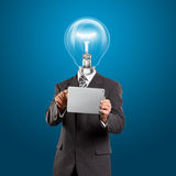 Lamp Head Businessman With Touch Pad Stock Images
