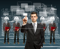 Lamp head businesspeople with laptop Royalty Free Stock Photography