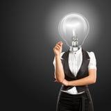 Lamp Head Businesswoman Writing Something Royalty Free Stock Photo