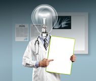Lamp Head Doctor Man With Empty Board Stock Photography