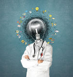Lamp head doctor man have got an idea Royalty Free Stock Images