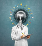 Lamp head doctor man have got an idea Royalty Free Stock Photo
