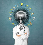 Lamp head doctor man have got an idea Stock Images