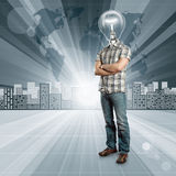 Lamp Head Human against Conceptual Background Stock Photography