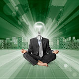 Lamp Head Human against Conceptual Background Stock Image