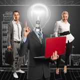Lamp Head Man And Business Team Royalty Free Stock Image