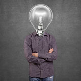 Lamp Head Man With Folded Hands Royalty Free Stock Photography