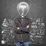 Lamp Head Man With Folded Hands Stock Photos