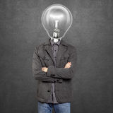Lamp Head Man With Folded Hands Stock Images