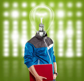 Lamp Head Man With Laptop Stock Images