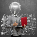 Lamp Head Man With Laptop In His Hands Well Done Stock Photo