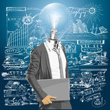 Lamp Head Man With Laptop Royalty Free Stock Photography