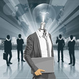 Lamp Head Man With Laptop Royalty Free Stock Image