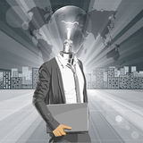 Lamp Head Man With Laptop Royalty Free Stock Photos