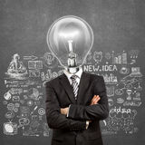 Lamp Head Man In Suit With Crossed Hands Royalty Free Stock Photos
