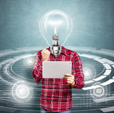 Lamp Head Man With Touch Pad Stock Photos