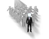 Lamp head people in first position of arrow. Shape group Stock Images