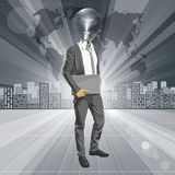 Lamp Hoofdmens met Laptop Stock Foto