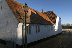 Lamp and house in Ribe Royalty Free Stock Photo