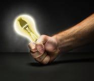 Lamp in human fist Stock Photos