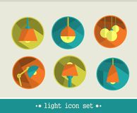 Lamp icon set. Royalty Free Stock Photography