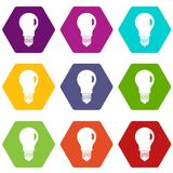 Lamp icon set color hexahedron royalty free illustration