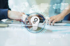 Lamp icon on virtual screen. Business solution. Innovation concept Stock Image