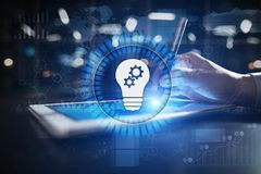 Lamp icon on virtual screen. Business solution. Innovation concept. Lamp icon on virtual screen. Business solution. Innovation concept Royalty Free Stock Images