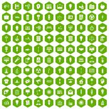 100 lamp icons hexagon green. 100 lamp icons set in green hexagon isolated vector illustration vector illustration