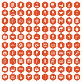 100 lamp icons hexagon orange Stock Photo