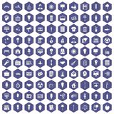 100 lamp icons hexagon purple. 100 lamp icons set in purple hexagon isolated vector illustration Royalty Free Stock Images