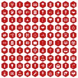 100 lamp icons hexagon red. 100 lamp icons set in red hexagon isolated vector illustration Royalty Free Stock Photo
