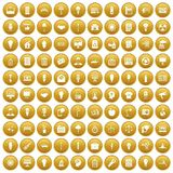 100 lamp icons set gold. 100 lamp icons set in gold circle isolated on white vectr illustration Stock Image