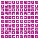 100 lamp icons set grunge pink. 100 lamp icons set in grunge style pink color isolated on white background vector illustration Royalty Free Stock Images
