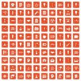 100 lamp icons set grunge orange. 100 lamp icons set in grunge style orange color isolated on white background vector illustration Stock Images