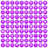 100 lamp icons set purple. 100 lamp icons set in purple circle isolated vector illustration royalty free illustration