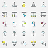 Lamp icons or signs Royalty Free Stock Image