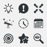 Lamp idea and clock time. Target aim. Stock Images