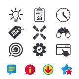 Lamp idea and clock time. Target aim. Lamp idea and clock time icons. Target aim sign. Darts board with arrow. Teamwork symbol. Browser window, Report and Royalty Free Stock Images