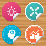 Lamp idea. Graph chart diagram. Head with gear. Royalty Free Stock Photos