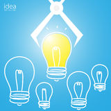 Lamp idea are selected, light bulb idea, good idea Stock Image