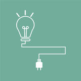 Lamp of idea. White stroke lightbulb with cable on Sea-green background Royalty Free Stock Photo