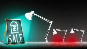 The lamp is illuminating the blackboard. The blackboard have an inscription `sale Stock Photography