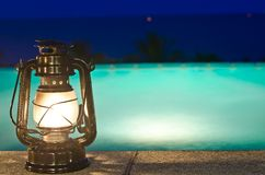 Lamp and jacuzzi with night views Stock Photography