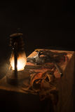 Lamp, knife and a mask on the table. Lamp, knife and a mask on the bloody table on a gray background Royalty Free Stock Photos