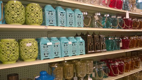 Lamp lanterns on shelves selling Stock Images