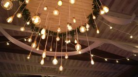 Lamp lanterns on the top in interior. Indoors stock footage