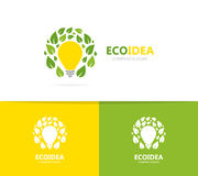 Lamp and leaf logo combination. Idea and eco symbol or icon. Unique organic and light bulb logotype design template. Logo or icon design element for companies Royalty Free Stock Photography