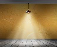 Lamp in Lege ruimte met muur en houten vloer binnenlandse achtergrond Stock Fotografie