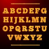 Lamp light alphabet. Shining letters neon retro font vector illustration Stock Photos